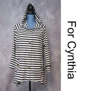 For Cynthia Black & White Striped Swing Coat Sz L